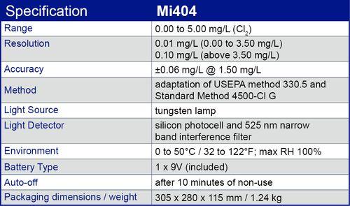 Especificación Mi404